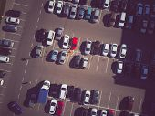 A View From Above To The Process Of Car Parking. Heavy Traffic In The Parking Lot. Searching For Spa poster