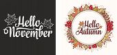 Hello November Lettering Phrase Text.autumn Leaves Frame With Rowan, Maple, Birch And Oak. Hello Aut poster