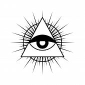All Seeing Eye Symbol With Triangle. Triangle With Eye, All Seeing Eye, Isolated On White. All Seein poster