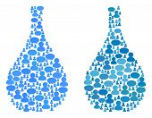 Glass Jug Mosaics Of Chat Clouds And Men Symbols. Vector Mosaic In Blue Color Variations. Persons An poster