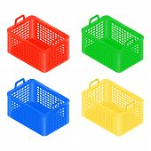 Isometric Shopping Basket Set, Red,yellow, Blue And Green Color. Isometric Shopping Basket Isolated  poster