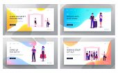 Passengers In Elevator Website Landing Page Set. Male And Female Characters Using Lift Transportatio poster