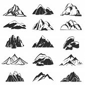 Mountain Symbols. Silhouette Mountains With Range Snow Labels, Abstract Alpen Hills. Hiking, Explori poster