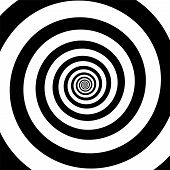 Spiral Illusion Black And White Circular Rotation Effect. Vector Illustration poster
