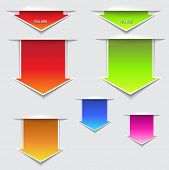 3D Pull Here Arrows - three dimensional paper slips in the shape of pull out arrows, in a variety of
