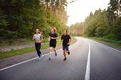 A Group Of Three People Athletes One Girl And Two Men Run On Asphalt Road In Pine Forest At Summer.  poster