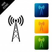 Antenna Icon Isolated On White Background. Radio Antenna Wireless. Technology And Network Signal Rad poster