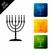 Hanukkah Menorah Icon Isolated On White Background. Religion Icon. Hanukkah Traditional Symbol. Holi poster