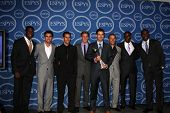LOS ANGELES - JULY 14:  USA soccer - Edson Buddle, Jonathan Bornstein, Benny Feilhaber, Stuart Holden, Carlos Bocanera, Steve Cherundulo, Maurice Edu, Jozy Altidore attend the 2010 ESPY awards on July 14, 2010 in Los Angeles, CA