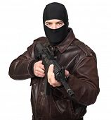 picture of m4  - portrait of criminal with m4 rifle on white - JPG