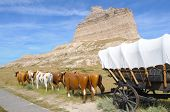 Scotts Bluff peak, covered wagon and oxen