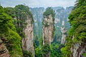 Famous tourist attraction of China - Avatar Hallelujah Mountain in Zhangjiajie stone pillars cliff m poster