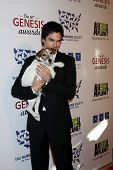 LOS ANGELES - MAR 24:  Ian Somerhalder, Uggie arrives at  the 2012 Genesis Awards at the Beverly Hil