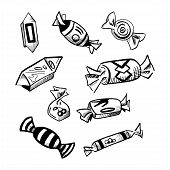 Doodle Candies Set. Hand Drawn Vector Illustrations Of Candy Canes, Sweetmeats, Sweets And Sweet-stu poster