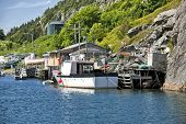 Fishing boats and fishing shacks in Quidi Vidi, outside of St. John's, Newfoundland.