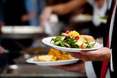 stock photo of banquet  - a person in line with their food during a banquet or other catered event - JPG