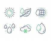 Rainy Weather, World Water And Snow Weather Line Icons Set. Sun, Leaf Dew And Oil Drop Signs. Water  poster