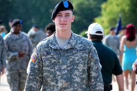 picture of army soldier  - Handsome young American solider upon his graduation from basic training at Ft. Benning GA. ** Note: Shallow depth of field - JPG