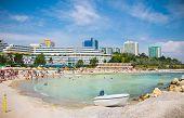 Beautiful Olimp beach in summer, Romania. Olimp is popular summer destination in Romania for hundred