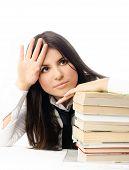 Infeliz estudiante cansado de hacer Homewrok