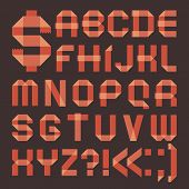 Font from reddish scotch tape -  Roman alphabet