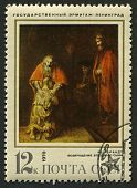 USSR - CIRCA 1970: A stamp printed in USSR shows an oil painting