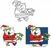 stock photo of lurch  - Illustration Of Santa Zombie Cartoon Mascot Characters Collection - JPG
