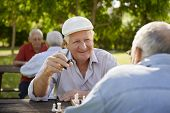 stock photo of sitting a bench  - Active retired people old friends and free time two seniors having fun and playing chess game at park - JPG