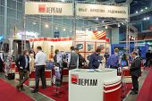 MOSCOW - FEB 28: Stand of JSC Pergam Engineering at ExpoCoating 2012, Feb 28, Moscow Russia. Company