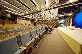 MOSCOW - FEB 28: Main conference hall in International multimedia center of RIA Novosti, Feb 28, 201