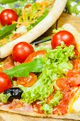 tasty pizza with olives and vegetables