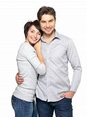 stock photo of human beings  - Portrait of happy couple isolated on white background - JPG