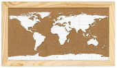 World Map On Corkboard