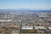image of superstition mountains  - On approach from the West to Sky Harbor International Airport in Phoenix Arizona - JPG
