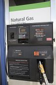 Gas station fuel pump with natural gas for vehicles
