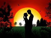foto of tawdry  - Romantic couple at in the evening with nice sunset - JPG