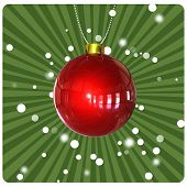 Christmas Ball On Green Background