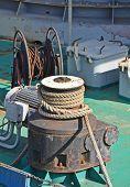 Old mooring bollard with winch