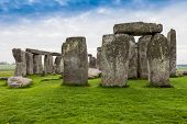 picture of stonehenge  - Stormy skies over Stonehenge in Wiltshire England - JPG