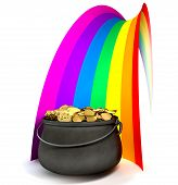 picture of end rainbow  - A cast iron pot filled with gold coins at the end of a regular stylised rainbow on an isolated background - JPG