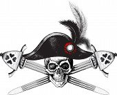 skull in the captain hat and two crossed swords