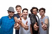 stock photo of dreadlocks  - Happy Friends Showing Thumb Up Sign On White Background - JPG