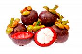 Mangosteen Tropical Fruit In Thailand On White Background