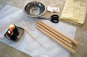image of ear candle  - Assorted ear candling supplies arranged for use - JPG