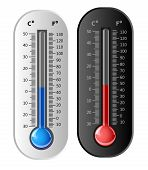 Thermometer white and black. Vector