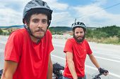MOSTAR, BOSNIA - AUGUST 14: Young cyclist touring from Madrid to Istanbul on August 14, 2012 near Mo