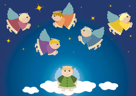 picture of christmas angel  - Flying angels christmas theme in heaven - JPG