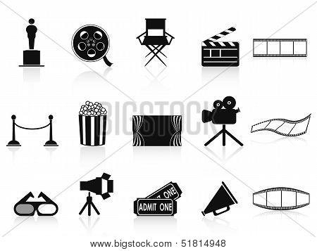 Постер, плакат: Набор иконок черные фильмы, холст на подрамнике