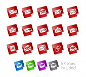 E-mail Icons // Stickers Series ---- It includes 5 color versions for each icon in different layers