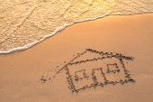 stock photo of beach-house  - House painted on beach sand - JPG